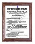 Cadre d'affichage mural loi protection des mineurs - Dimensions (L x H) cm : 30 x 40