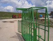 Cage de contention tubulaire - Tenir l'animal qui doit être pris en photo en toute protection