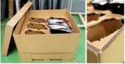 Caisse carton - Découpe pièces sur plaque carton ondulé