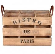 Caisse de bouteilles en bois - 6 casiers, poignées en acier