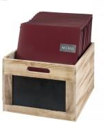 Caisse de rangement en bois avec ardoise noir - Bois léger de paulownia - Dimensions : 21 x 35 x 28,3 cm