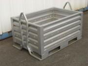Caisse métallique à lyres perforée - Lyres de gerbage sur les petits côtés
