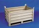 Caisse palette métallique à semelle - En tôle nervurée - Dimensions : 800 x 600 ou 800 x 1200 mm