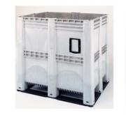 Caisse palette plastique 1400 litres pleine - Dimensions extérieures : 1300 x 1150 x 1250 mm