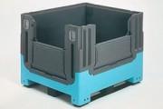 Caisse palette plastique, 3 semelles - 3 semelles, 61490, 3 semelles, 2 portes, 61492