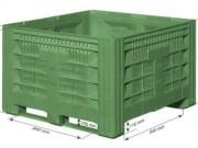 Caisse palette plastique ajourée - Volume : 830 L - Dimension extérieure : 1200x1200x785 mm