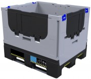 Caisse palette pliable 1200 x 1000 mm - Capacité : 605 L - Coloris : Gris et noir - Dimensions : L.1200 x lg.1000 H.750 mm