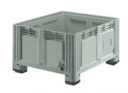 Caisse plastique 520 L à 3 semelles - Dimensions extérieures : 1200x1000x650 mm - Dimensions intérieures : 1120x920x475 mm