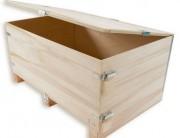 Caisse pliante bois porte amovible - Fermeture de la ceinture par agrafage ou grenouillères