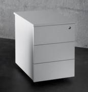 Caisson bureau métallique 3 tiroirs sur roulettes - Dimensions : L.43 x P.53 x H59 cm