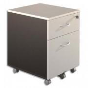 Caisson mobile 2 tiroirs dt 1 pour DS gris clair/anthracite 410x560x500 - Simmob