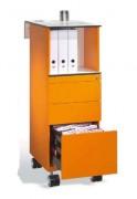 Caisson mobile avec tiroirs - Plateau fonctionnel coudé en HPL