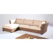 Canapé d'angle en fibres naturelles - Coussin beige