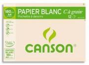 CANSON Pochette de 12 feuilles de papier dessin C A GRAIN 180g A4 Ref-27107 - Canson