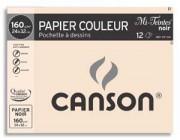 CANSON Pochette de 12 feuilles papier dessin MI-TEINTES 160g 24x32cm noir Ref-317104 - Canson