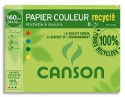 CANSON Pochette de 8 feuilles de papier dessin couleur recyclé – format 24x32cm – 160g - Canson