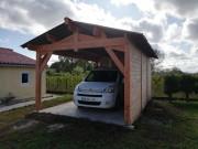 Carport en bois - Poteaux lamellé collé : 120 x 120 mm