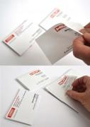 Carte visite autocollante - Cartes adhesives a positionner sur les documents commerciaux, les modes d'emploi, les échantillons et les produits en service chez vos clients
