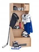 Casier vestiaire hockey - En bois mélaminé - Dimensions : 1970 x 800 x 600 mm