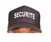 Casquette souple noire brodée sécurité - 100% coton - Taille unique réglable