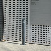 Cendrier acier sur platine - Corps du cendrier en tube Ø 101,6 mm - épaisseur 3,6 mm