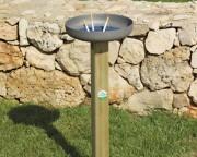 Cendrier avec poteau de soutien en bois - Dimensions (Ø x ht)cm : 30 x 70/100 h
