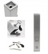 Cendrier carré sur pied - Inox et aluminium - Dimensions : 80 x 80 x 480 mm