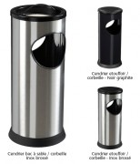 Cendrier corbeille à poser 0.25/17,5L - Contenance 150 mégots - Acier poudré anti-UV ou inox brossé
