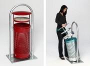 Cendrier poubelle à coupelle - Structure Anti Odeur et Non Feu.