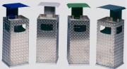 Cendrier poubelle aluminium - Avec 3 ouvertures