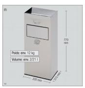 Cendrier poubelle inox brossé - Fabriqués en tôles d'INOX.
