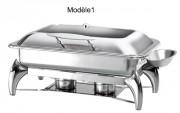 Chafing dish à hublot - - Capacité : de 5 à 9 L- Dimensions : 630 x 495 x 435 ou 495 x 460 x 435  ou 525 x 465 x 400 mm