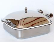 Chafing dish carré à induction - Couvercle Inox ou en verre - Capacité : 5,8 L