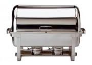 Chafing-dish 'Swiss' GN 1/1 en inox 18/10 - Contenance: 9 Litres - Accessoires fournis: 2 brûleurs et une cloche