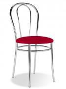 Chaise 4 pieds et dossier en acier chrômé - Diamètre assise : 410 mm - Hauteur du dossier : 410 mm