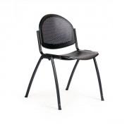 Chaise 4 pieds métal STAR 500 - Structure d'assise et dossier en tube d'acier Ø 22 mm époxy noir ou aluminium.