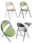 Chaise accrochable et pliante - Assise et dossier en Tissu ou en Hêtre vernis naturel