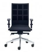 Chaise avec dossier haut en polyester - Composition :  100 % polyester - Piétement injecté en aluminium finition polie