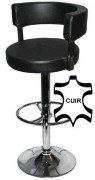 Chaise de bar recouvert de cuir - Dimensions Assise Ø39 x H30 x L39 cm