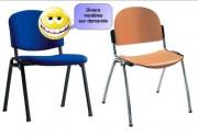Chaise de bureau économique - Assise: bois - tissu - plastique