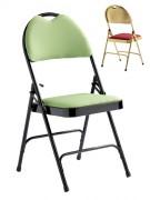 Chaise de collectivités pliante - Assise et dossier recouverts de tissu
