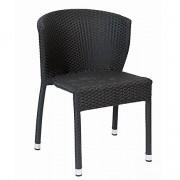 Chaise de restaurant alu et tressage noir - Hauteur : 78 cm - Profondeur : 45 cm