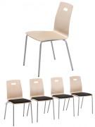 Chaise de restaurant empilable - Coque en multipli vernis naturel
