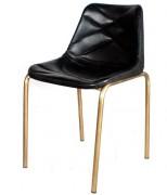 Chaise de restaurant en cuir de chèvre - Finition zinc   -  Assise en cuir de chèvre de couleur noir