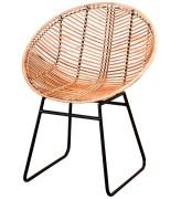 Chaise de style rétro-vintage en rotin naturel - Dimensions : 66 x 55 x 81 cm