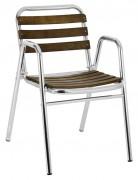 Chaise de terrasse aluminium et bois - Hauteur (cm) : 75