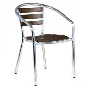 Chaise de terrasse aluminium et bois - Hauteur d'assise : 44.5 cm - Largeur d'assise : 41.5 cm