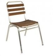 Chaise de terrasse aluminum - Structureet lattes en aluminium et teck