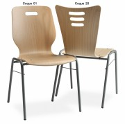 Chaise empilable coque bois - Chaise accrochable/ non accrochable