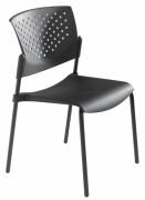 Chaise empilable en polypropylène noire - Assise et dossier polypropylène M4 noir ou garnis tissu
